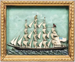 Carved and Painted Ship Diorama of the Four-masted Vessel Madeline