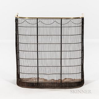 Tall Brass and Iron Wirework Fire Screen