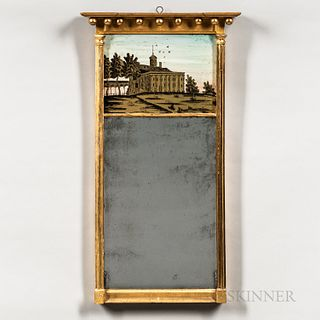 Federal Gilt Mirror with Eglomise Tablet of Mount Vernon