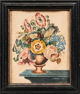 Watercolor on Paper Urn of Flowers