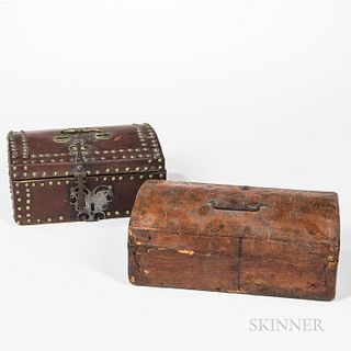 Two Leather-covered Dome-top Document Boxes