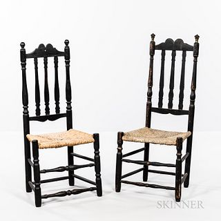 Two Similar Black-painted Bannister-back Side Chairs