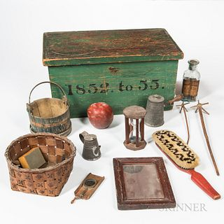 Green-painted Wood Document Box and Twenty-two Household Items