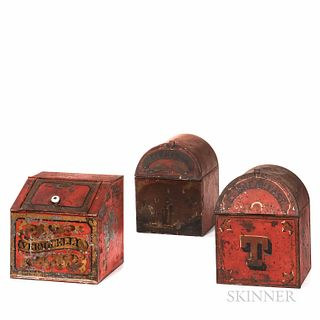 Three Red-painted and Paint-decorated Tin Lidded Tea Canisters