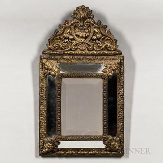 Molded Brass Rococo Mirror