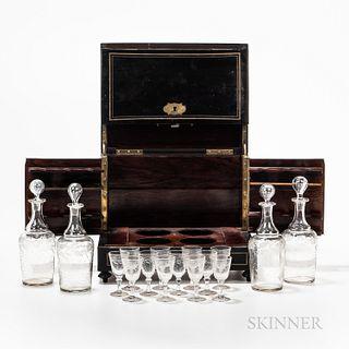 Exotic Wood Veneer and Brass-inlaid Spirit Cabinet