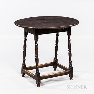 Spanish Brown-painted Maple and Pine Oval-top Tap Table