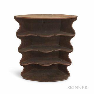 Red-painted Chestnut Four-tier Corner Shelf