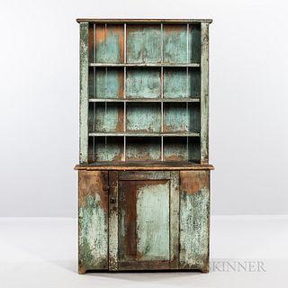 Blue-painted Pine Slant-back Cupboard