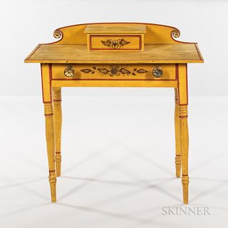 Fine Yellow-painted and Paint-decorated Dressing Table with Drawer