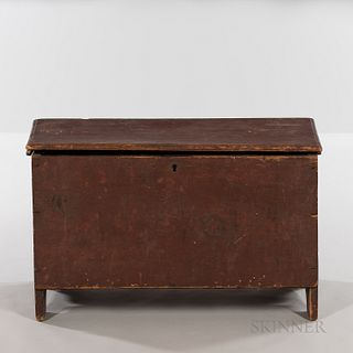 Early Small Red-painted Six-board Chest