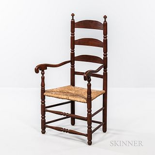 Turned Maple and Ash Slat-back Armchair