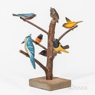 """Carved and Painted """"Bird Tree,"""""""