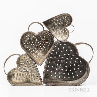 Four Pierced Tin Heart-form Curd Molds