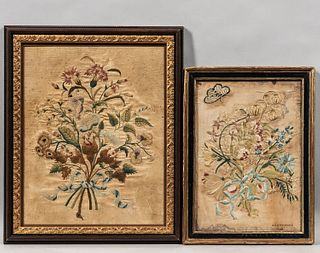 Two Needlework Pictures of Flower Bouquets