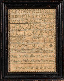 """Needlework Sampler """"Jane E. Woodberry,"""""""