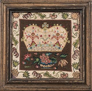 Early Needlework Picture of a Crown