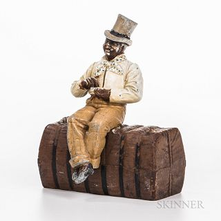 Rare Black Man on Cotton Bale Doorstop