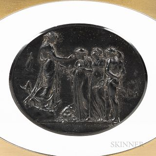 Wedgwood Black Basalt Sydney Cove Medallion