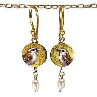 Wren Earrings with Pearl