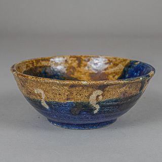Plato en cerámica de alta temperatura color azul, ocre y blanco / Brown and blue high temperature ceramic bowl
