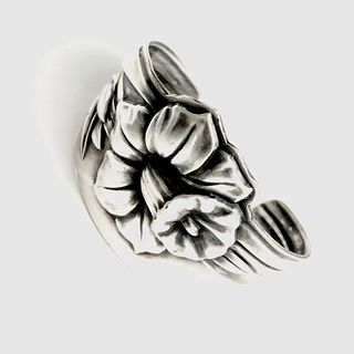 """Daffodil"" silver on bronze cuff bracelet"