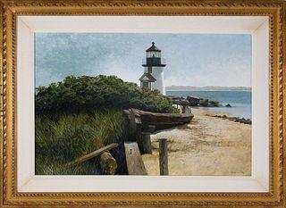 "R. Benjamin Jones Acrylic on Panel ""Brant Point Light, Nantucket"""