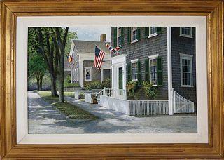 "R. Benjamin Jones Acrylic on Panel ""Upper Main Street, Nantucket"""