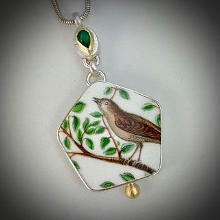 Birdhouse Emerald Pendant Necklace