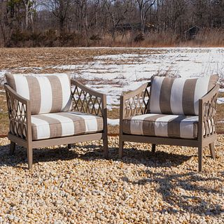 Pair of Restoration Hardware Teak and Upholstered Tub Chairs, The Greystone Collection