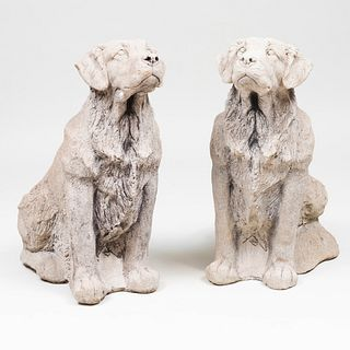 Two Cast Stone Models of Retrievers