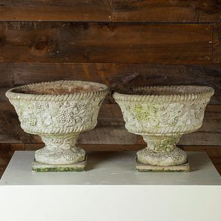 Near Pair of Foliate Decorated Cast Composition Urns