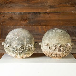Pair of Acanthus Decorated Composition Garden Orbs
