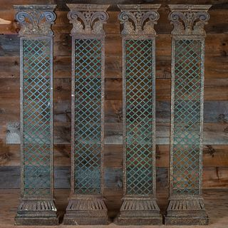 Set of Four Wrought Iron and Metal Trellis Decorated Pilasters
