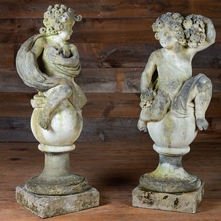 Pair of Louis XIV Style Figures of Putti on Plinths