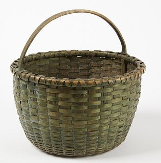 Splint basket with original Green Paint