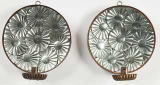 Pair of Tin Reflector Sconces