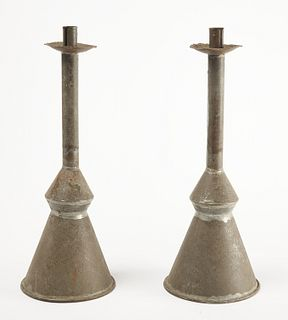 Unusual Pair Tin Candlesticks