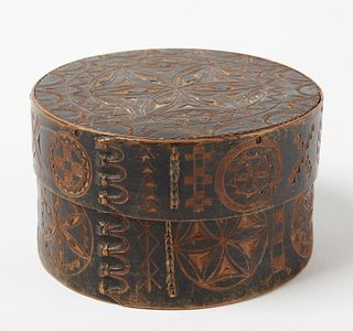 Fine Early Bent Wood Carved Box