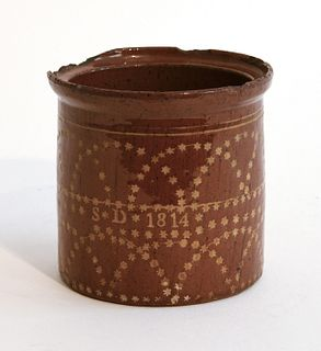 Rare Redware Jar dated 1814