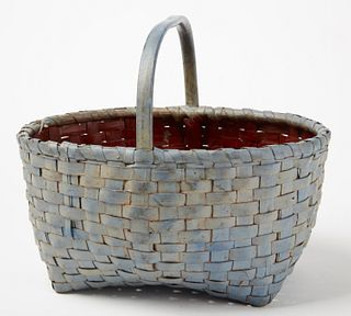Splint Basket with Blue and Red Paint