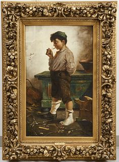 Painting of a Boy Smoking D Wilson