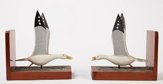 Pair of Carved Seagull with Fish Bookends