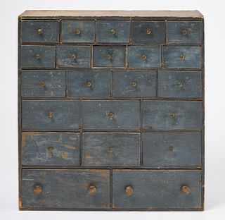 Small Apothecary Chest in Blue Paint