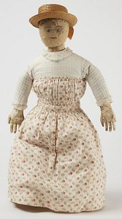White Cloth Doll with Caloco Dress