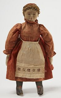 Cloth Doll with Red Dress and Apron