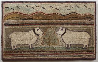 Hooked Rug with Sheep