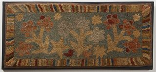 Hooked Rug with Flowers and Stars