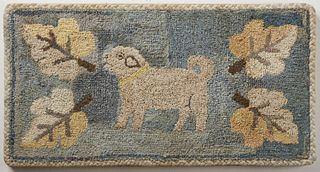 Hooked Rug with Dog