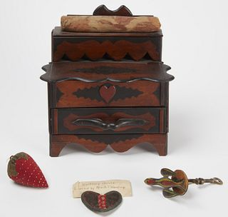 Folk Art Sewing Chest Lot